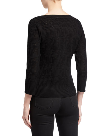 Image 2 of 2: Elie Tahari Rumi V-Neck Knit Sweater