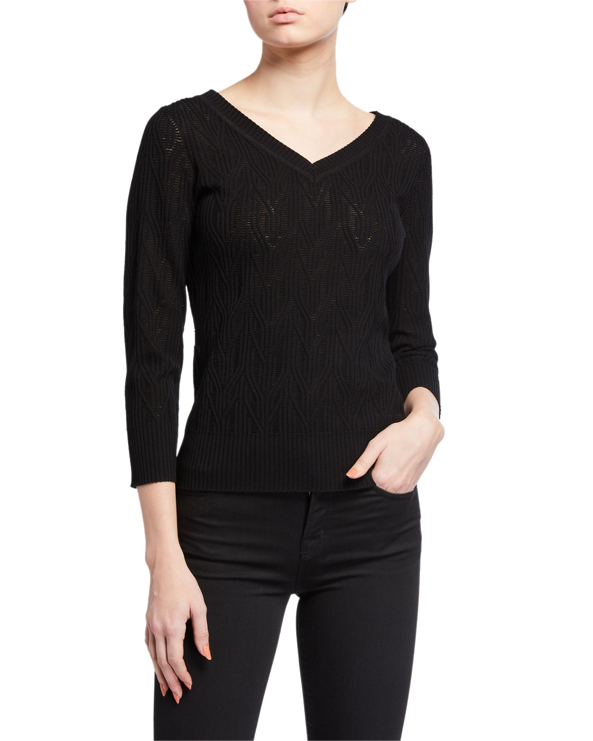 Elie Tahari Rumi V-Neck Knit Sweater