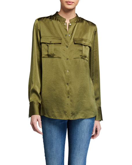 Image 1 of 2: Elie Tahari Emmett Satin Button-Down Shirt