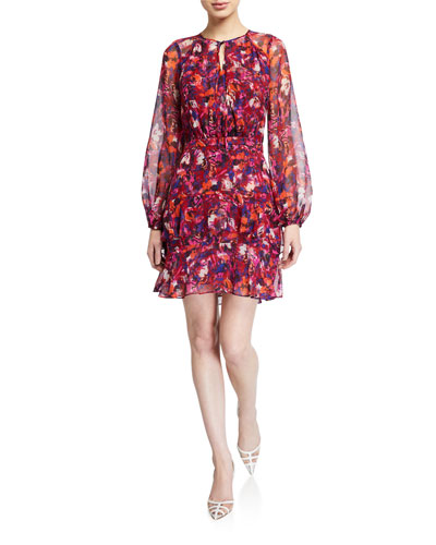 Marengo Floral-Print Long-Sleeve Dress