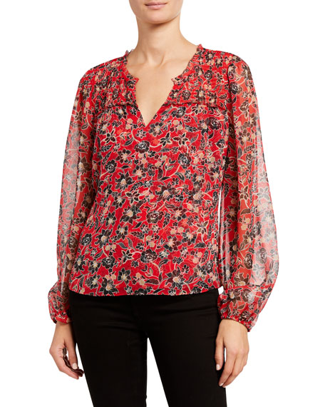 Image 2 of 3: Parker Dauphine Floral-Print Silk Blouse