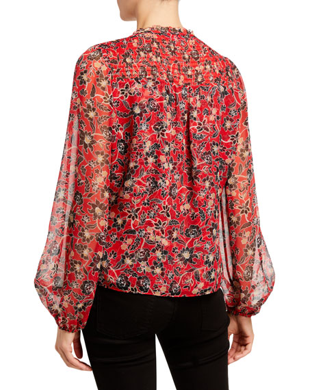 Image 3 of 3: Parker Dauphine Floral-Print Silk Blouse