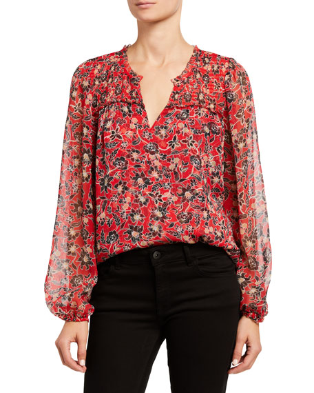 Image 1 of 3: Parker Dauphine Floral-Print Silk Blouse