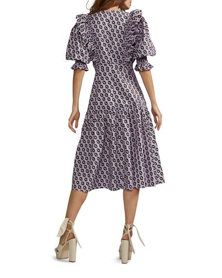 Cynthia Rowley Campbell Geometric Midi Ruffle Dress