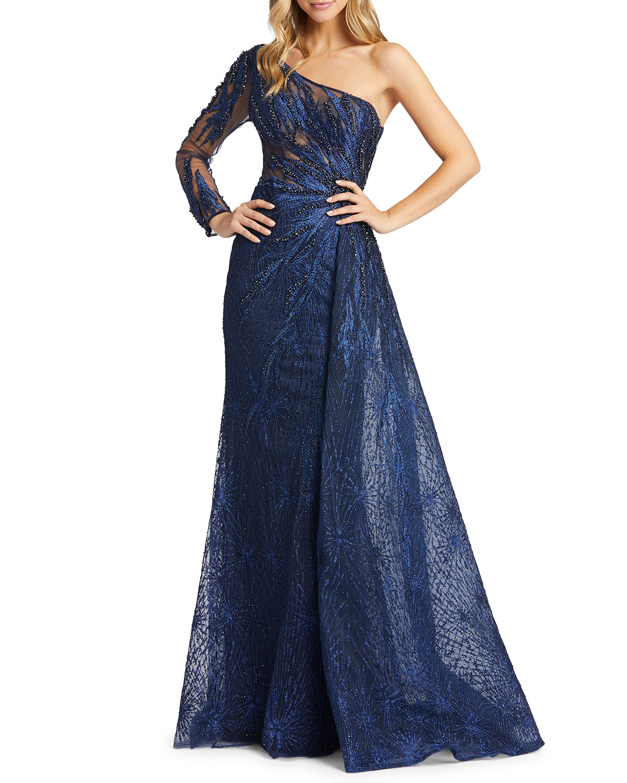Mac Duggal One-Sleeve Side Skirt Novelty Gown
