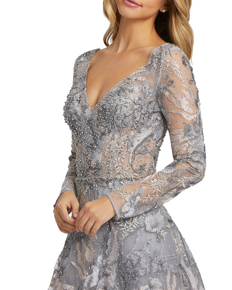 Image 2 of 3: Mac Duggal Forest Embroidered Long-Sleeve A-Line Illusion Gown