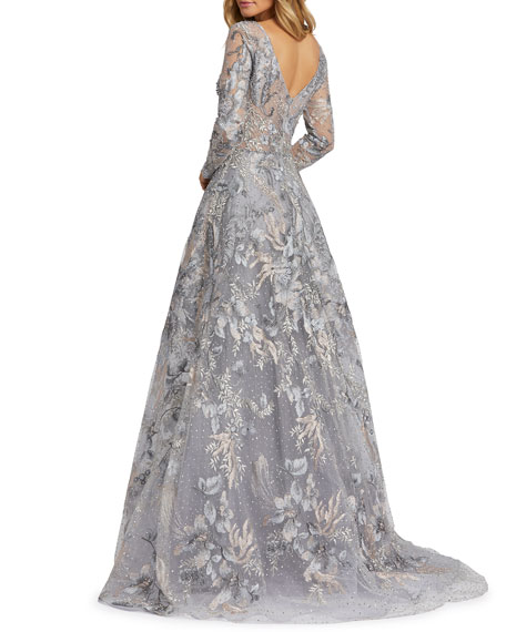 Image 3 of 3: Mac Duggal Forest Embroidered Long-Sleeve A-Line Illusion Gown