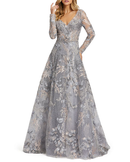 Image 1 of 3: Mac Duggal Forest Embroidered Long-Sleeve A-Line Illusion Gown