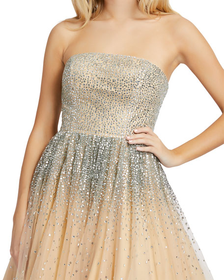 Image 2 of 3: Mac Duggal Strapless Sequin Embellished Ombre Tulle Ball Gown