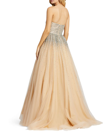 Image 3 of 3: Mac Duggal Strapless Sequin Embellished Ombre Tulle Ball Gown