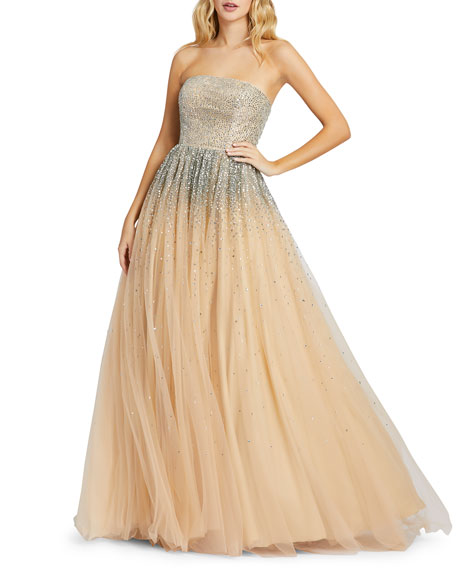 Image 1 of 3: Mac Duggal Strapless Sequin Embellished Ombre Tulle Ball Gown