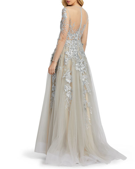 Mac Duggal Long-Sleeve Floral Applique Illusion Ball Gown