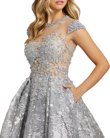 Image 2 of 3: Floral Embroidered & Pearly Bead Trim Illusion Ball Gown