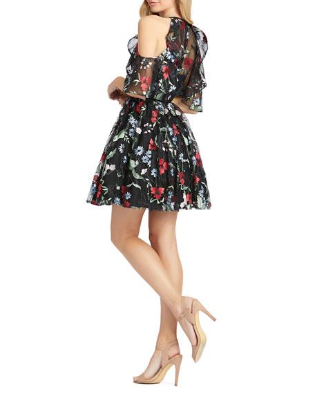 Mac Duggal Floral Embroidered Cold Shoulder Fit-&-Flare Dress