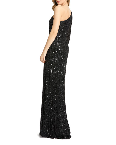 Image 2 of 3: Mac Duggal Sequin One-Sleeve Mermaid Gown