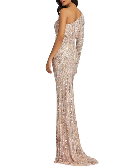 Image 3 of 3: Mac Duggal Sequin One-Sleeve Mermaid Gown