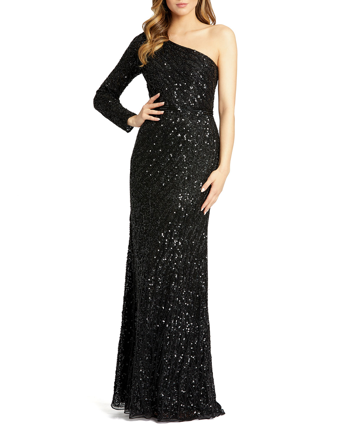 Mac Duggal Sequin One-Sleeve Mermaid Gown