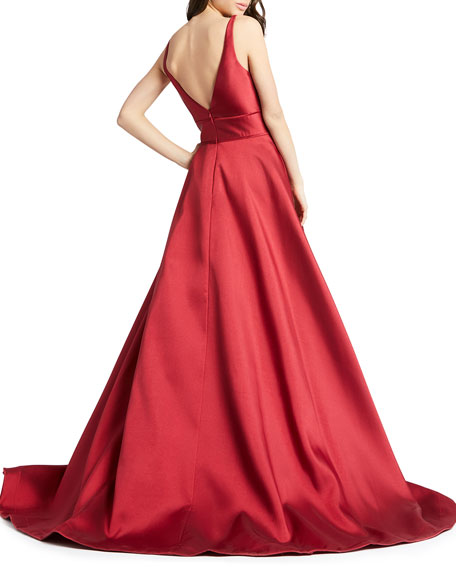 Image 2 of 2: Mac Duggal Sleeveless Plunging V-Neck Mikado Ball Gown
