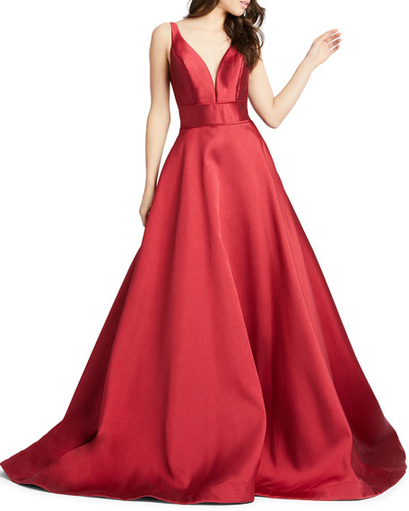 Image 1 of 2: Mac Duggal Sleeveless Plunging V-Neck Mikado Ball Gown