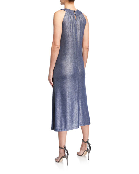 Image 2 of 2: Melissa Masse Plus Size Bib Halter-Neck Foiled Rib Jersey Dress
