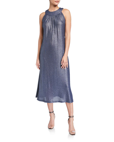 Image 1 of 2: Melissa Masse Plus Size Bib Halter-Neck Foiled Rib Jersey Dress