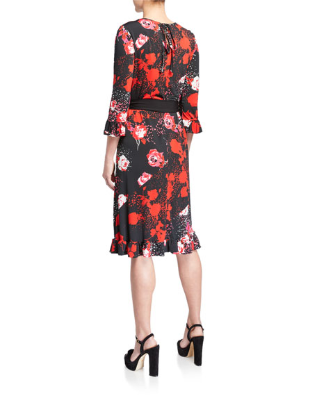 Image 2 of 2: Melissa Masse Plus Size Floral-Print Belted Luxe Jersey Ruffle Dress