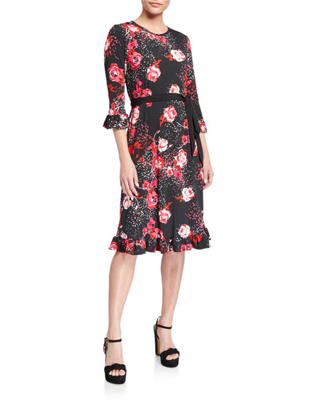 Image 1 of 2: Melissa Masse Plus Size Floral-Print Belted Luxe Jersey Ruffle Dress
