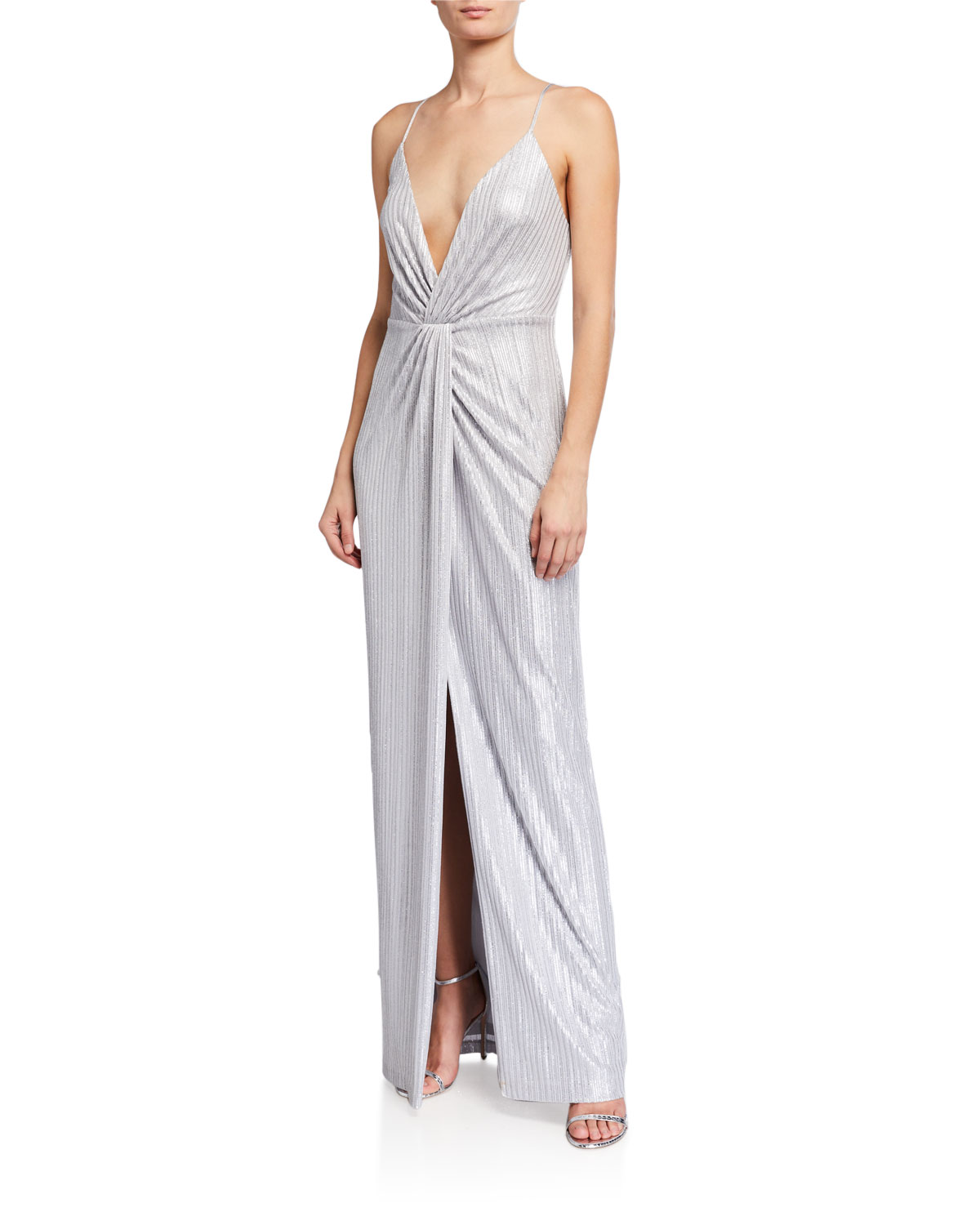 Aidan by Aidan Mattox Twist Front Deep V-Neck Foiled Knit Sleeveless Gown