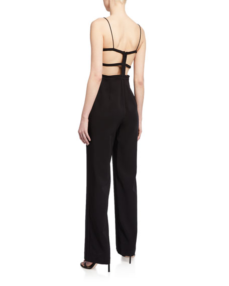 Image 2 of 2: Aidan by Aidan Mattox Lattice-Back Crepe Bustier Jumpsuit