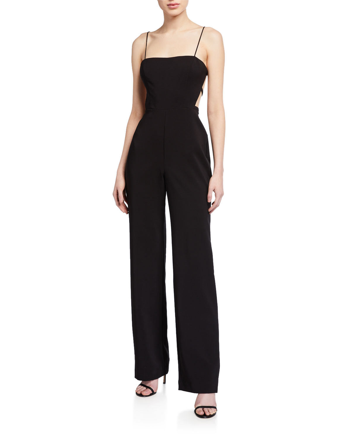 Aidan by Aidan Mattox Lattice-Back Crepe Bustier Jumpsuit