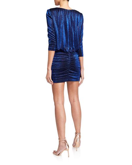 Aidan by Aidan Mattox Leopard Metallic Knit Blouson-Bodice Mini Dress