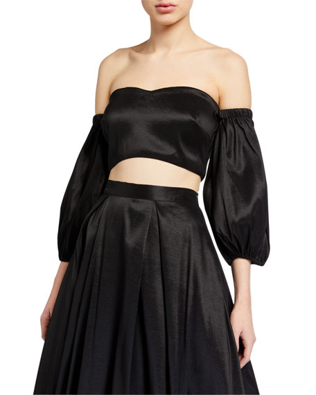 Likely Leelee Balloon-Sleeve Cropped Satin Bustier