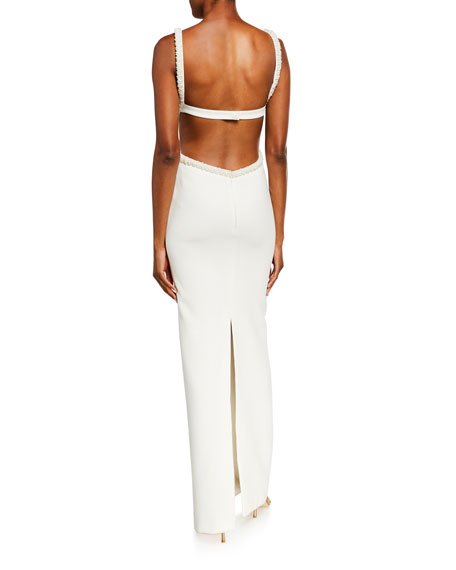 Likely Enzo Pearl-Trim Scoop-Neck Cutout-Back Gown