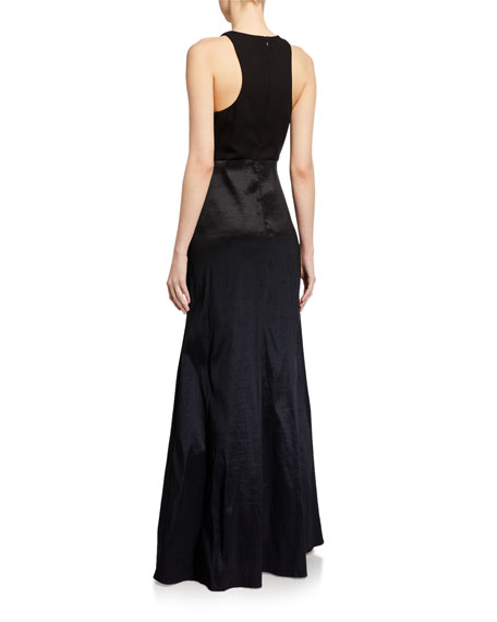 Likely Mena Side-Drape Halter Gown Over Short Skirt