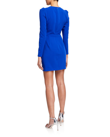 Image 2 of 2: Clinton V-Neck Long-Sleeve Faux Wrap Dress