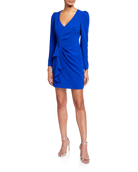 Image 1 of 2: Clinton V-Neck Long-Sleeve Faux Wrap Dress