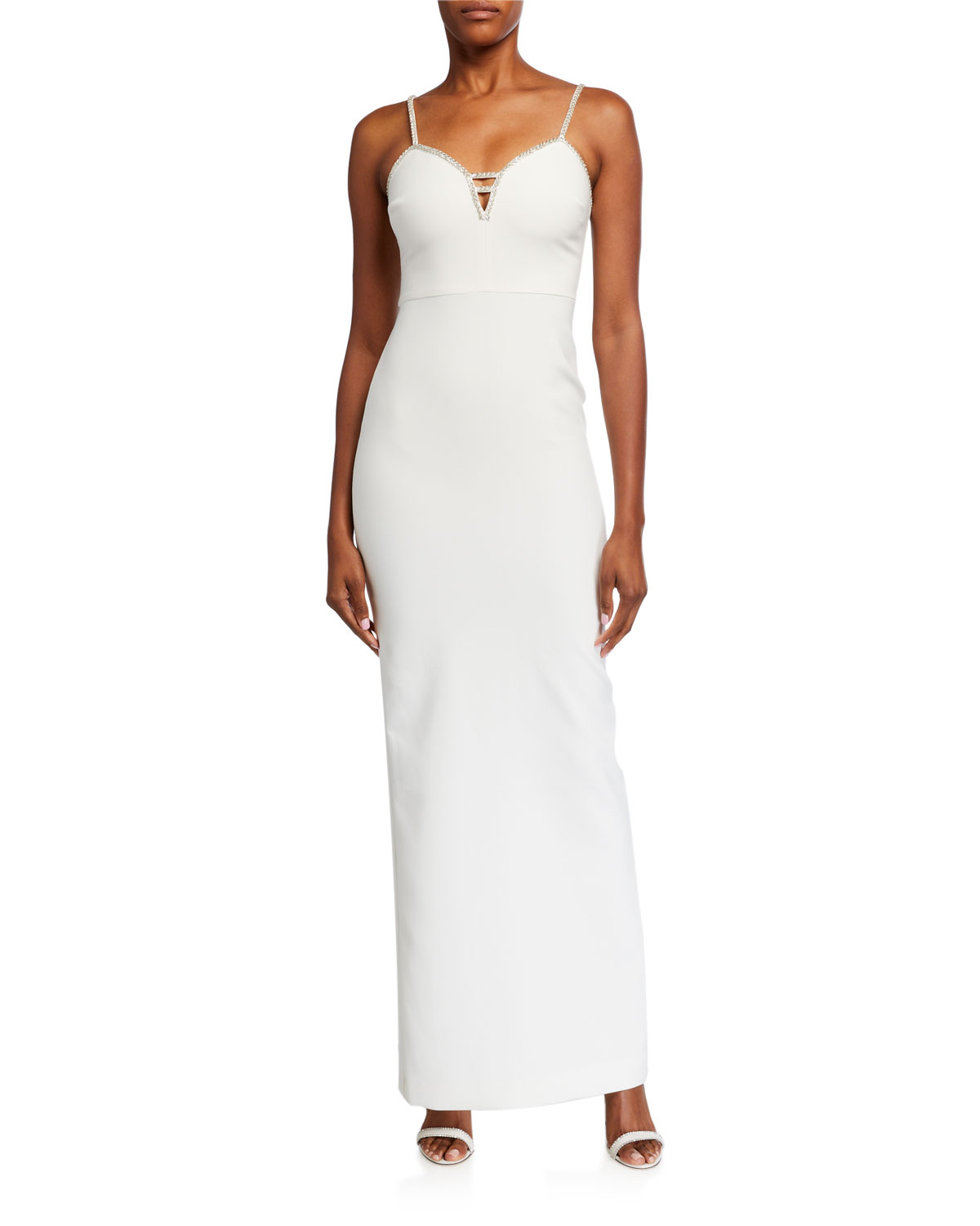 Likely Britta Sleeveless Jewel-Trim Column Gown