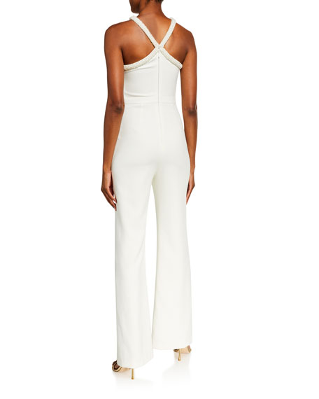 Image 2 of 2: Likely Ashland Beaded Pearl Trim X Halter Jumpsuit