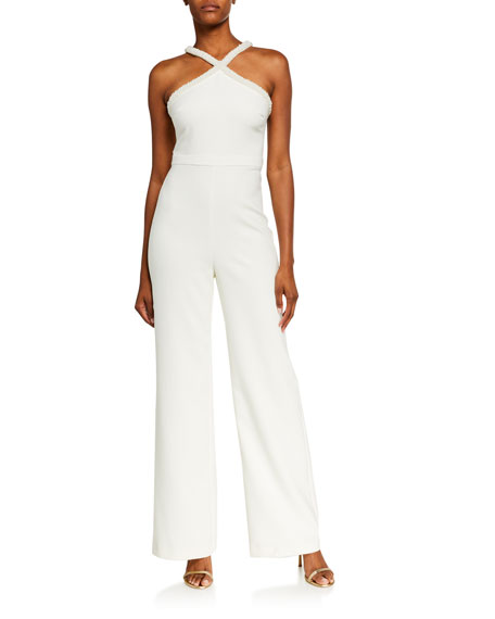 Image 1 of 2: Likely Ashland Beaded Pearl Trim X Halter Jumpsuit