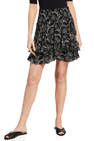 A.L.C. Vera Floral-Print Tiered Skirt