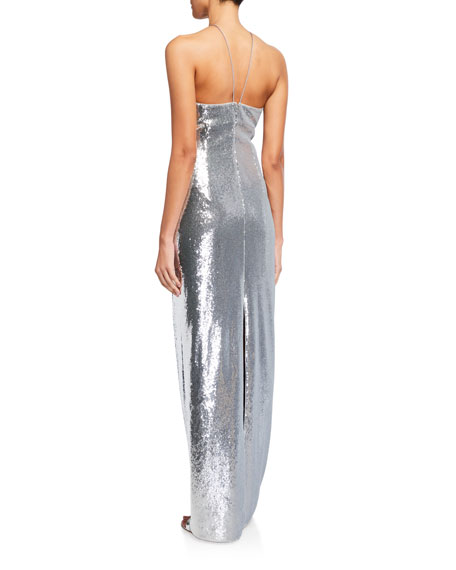 Image 2 of 2: Aidan by Aidan Mattox Sequin Side-Cutout Halter Gown