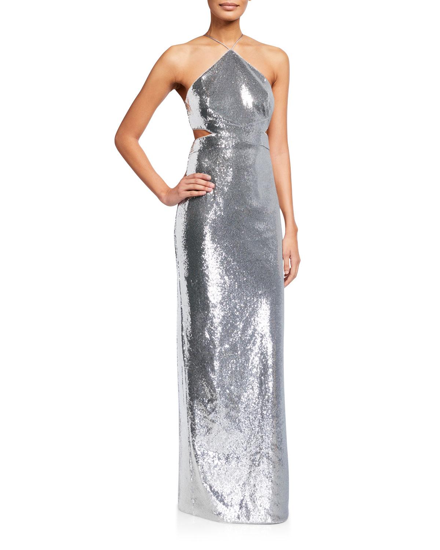 Aidan by Aidan Mattox Sequin Side-Cutout Halter Gown