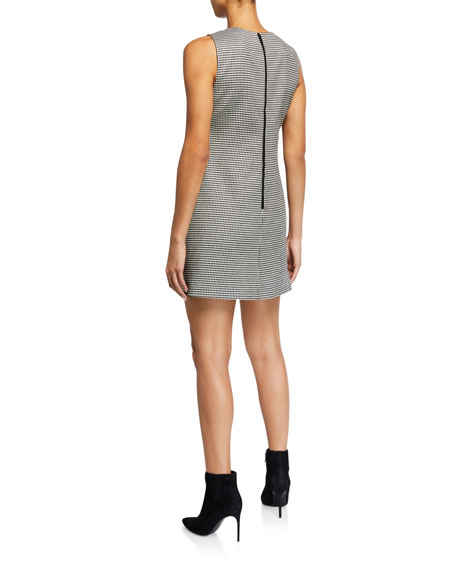 Alice + Olivia Coley Check Crewneck Sleeveless Mini Dress