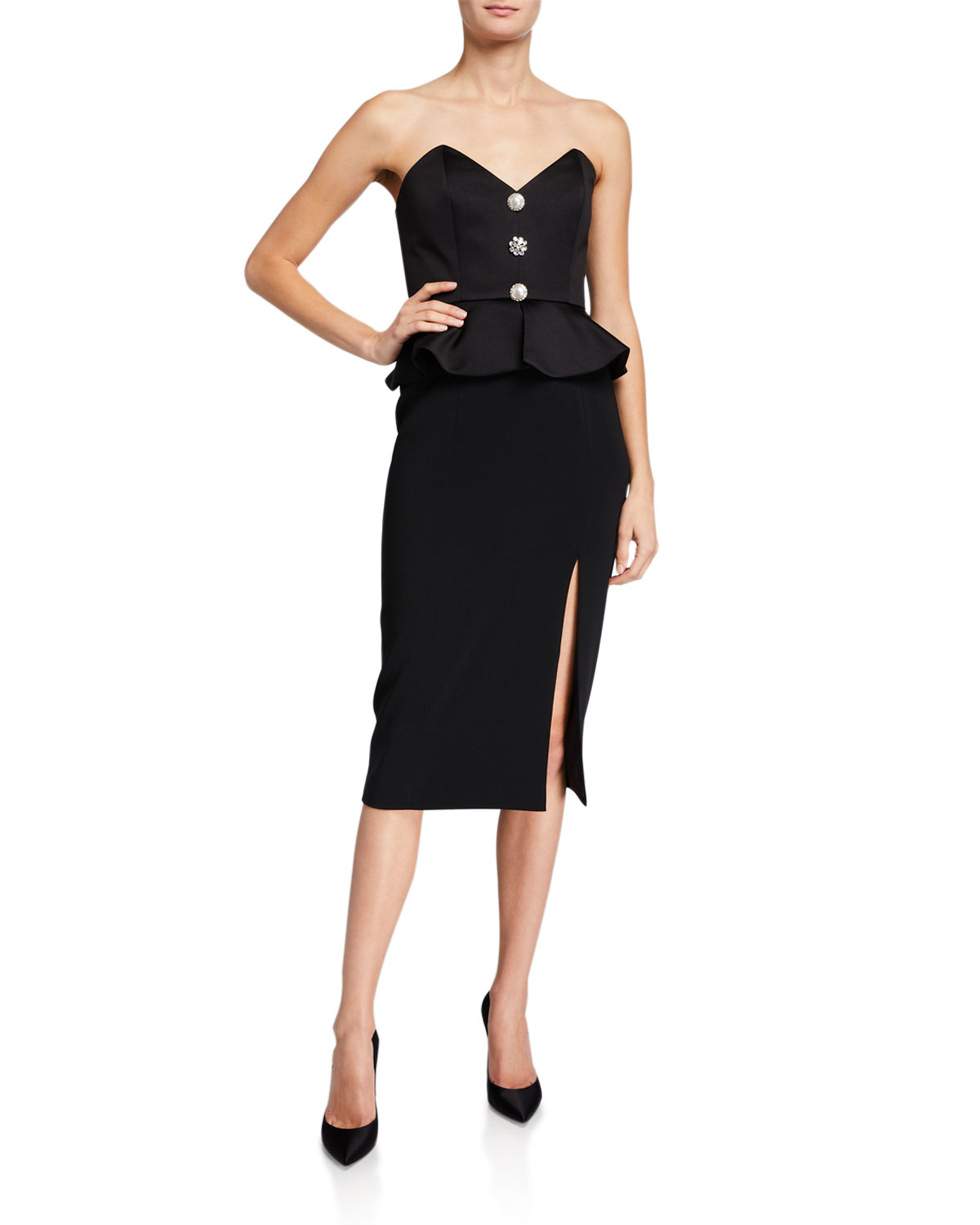Jay Godfrey Campo Button-Front Strapless Peplum Dress