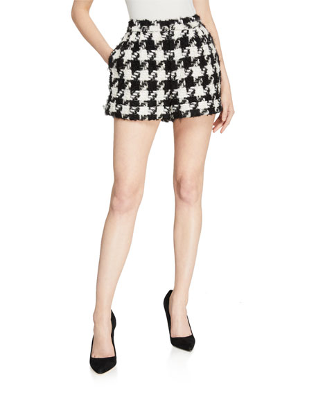 Alice + Olivia Conry Houndstooth Pleated Cuff Shorts