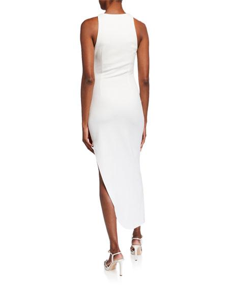 Misha Ida Shirred Asymmetric-Hem Halter Dress