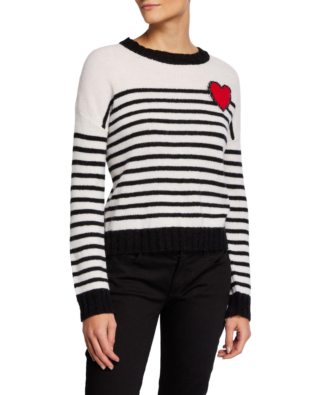 Perci Striped Wool Blend Sweater W/ Heart Detail by Rails