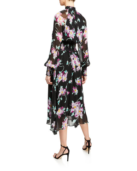 A.L.C. Casey Floral High-Neck Midi Dress