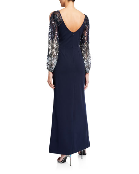 Image 2 of 2: Aidan Mattox Beaded Split-Sleeve Crepe Column Gown