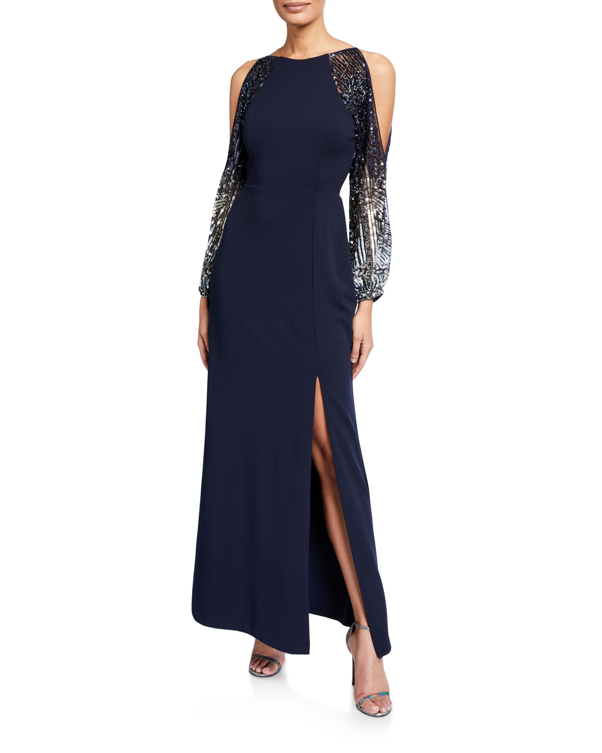Aidan Mattox Beaded Split-Sleeve Crepe Column Gown